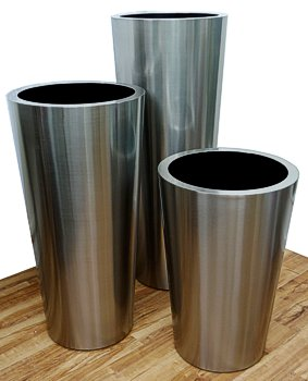 Brushed Stainless Steel Conical Planters